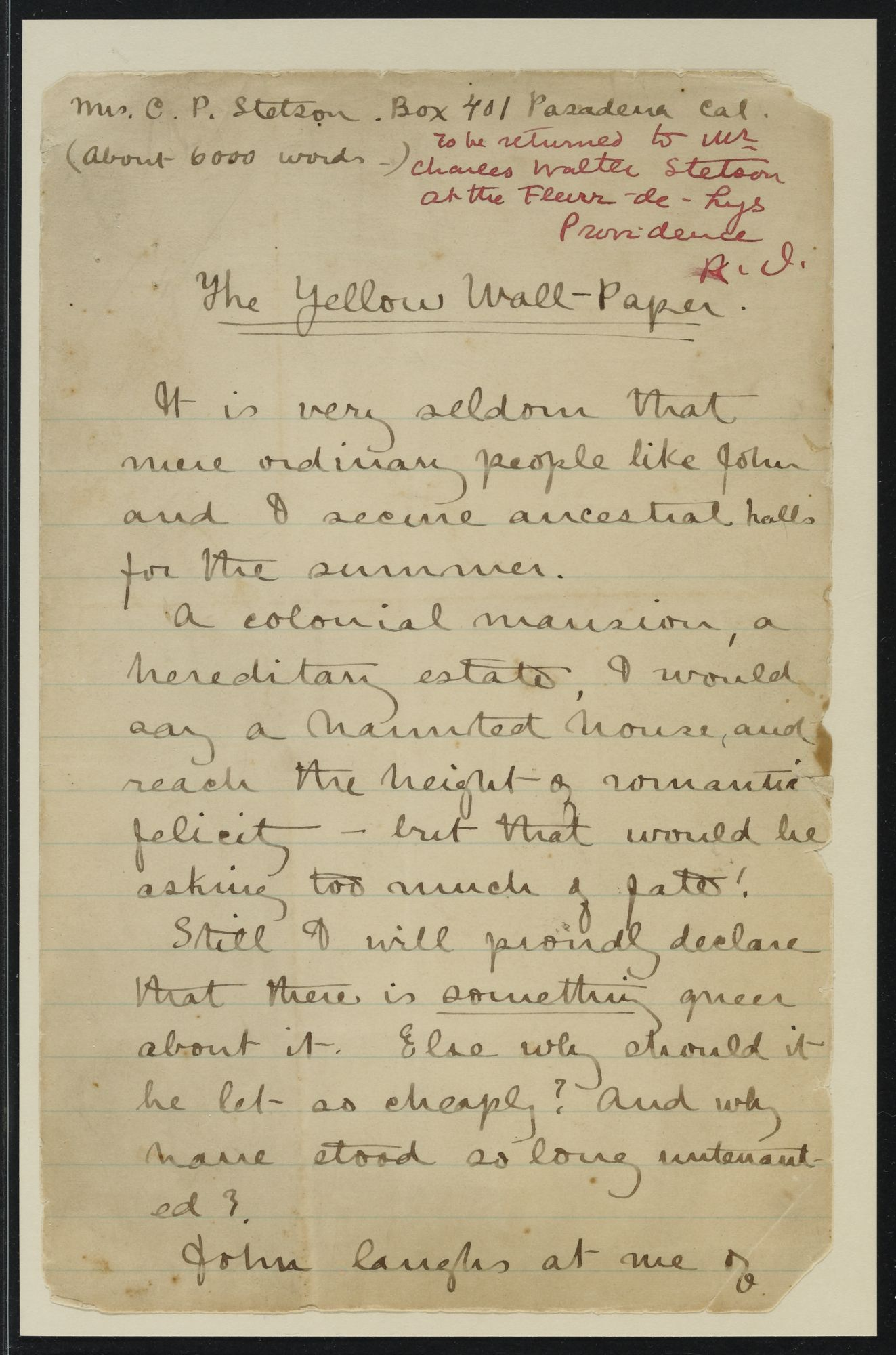 Gilman, Charlotte Perkins, 1860-1935. Papers, 1846-1961, Folder 221. Stories, miscellaneous.