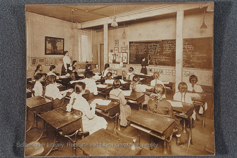 Girls seated in a classroom, Bennet Street industrial School, ca. 1900-1915