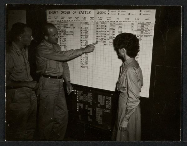 Paul Child with OSS and WAC officers discussing a battle chart while in India