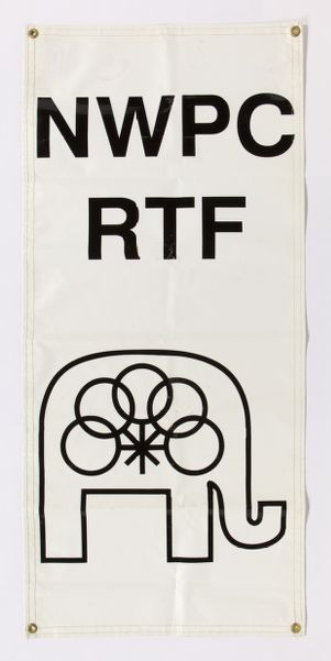 "National Women's Political Caucus Republican Task Force banner. White vinyl with black text ""NWPC RTF"" and elephant with Caucus symbol"