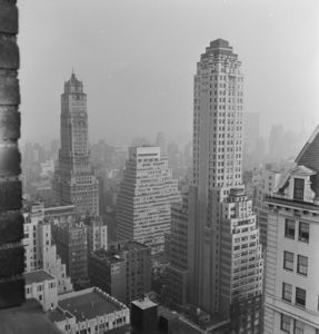 Photo by Paul Child. View of New York City from 31st floor of the Sherry Netherland, 1951.