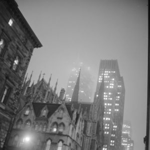 Photograph by Paul Child. View of New York City on a rainy night, 1962.