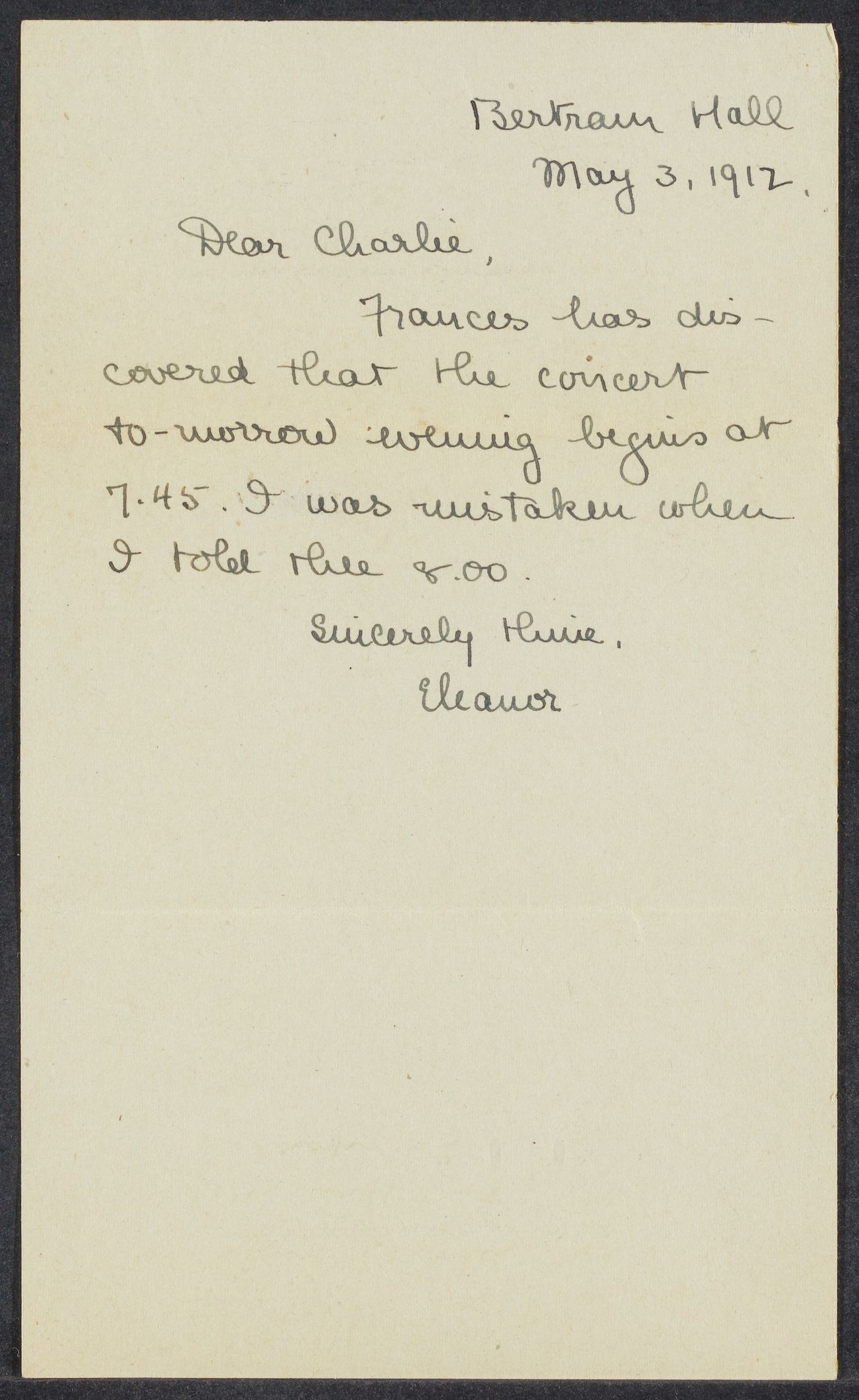Letters from Eleanor Stabler Brooks to Charles Franklin Brooks, May-October 1912