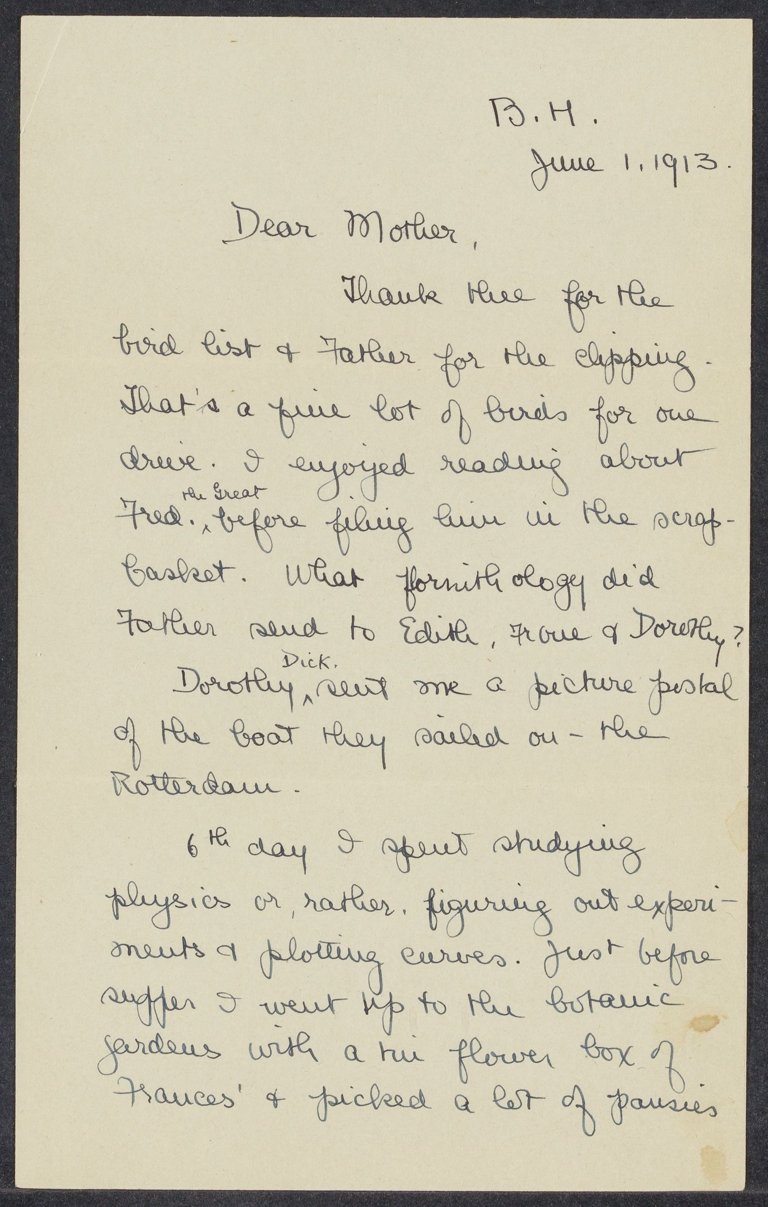 Letters from Eleanor Stabler Brooks to her parents, June 1913