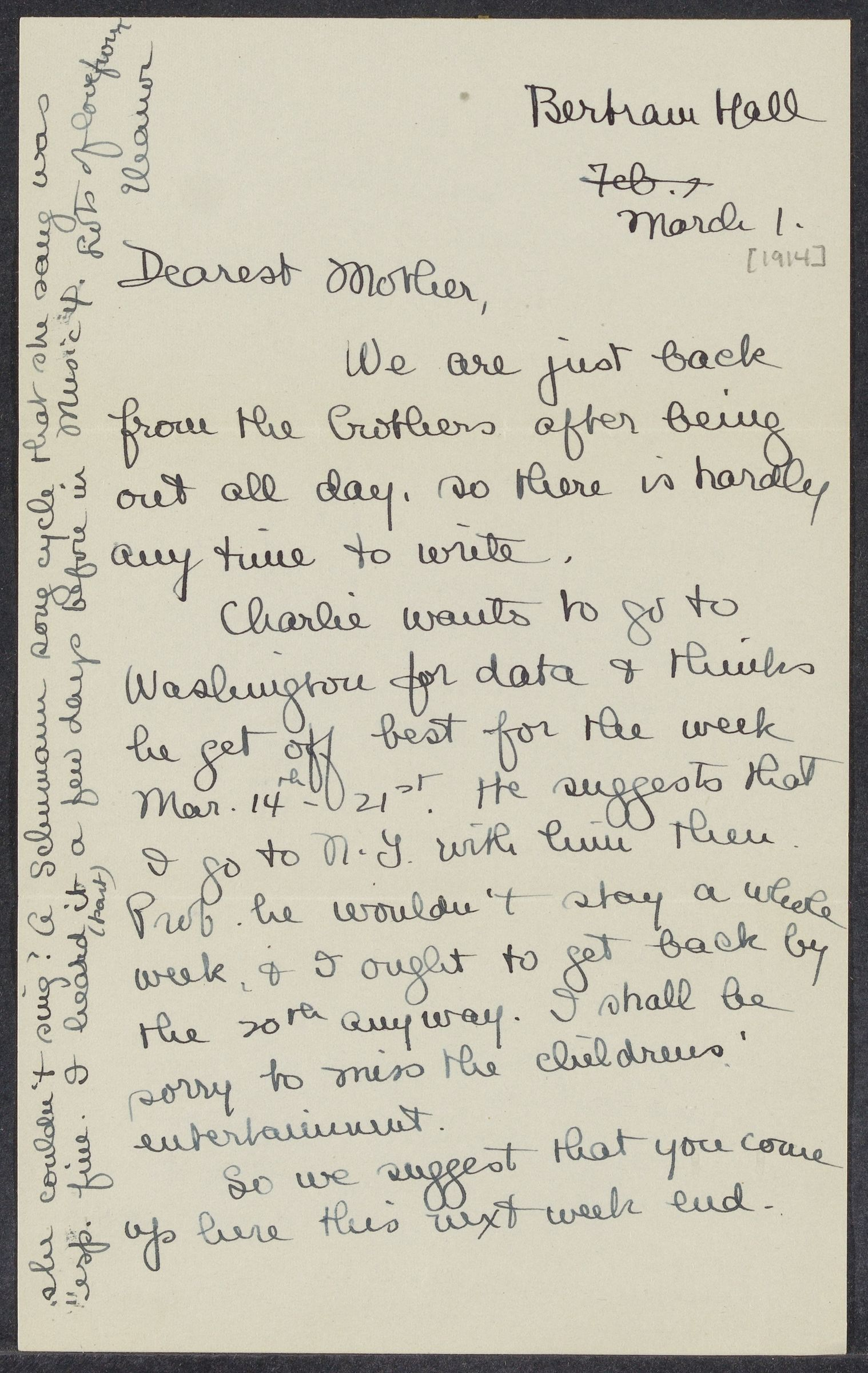 Letters from Eleanor Stabler Brooks to her parents, March 1914