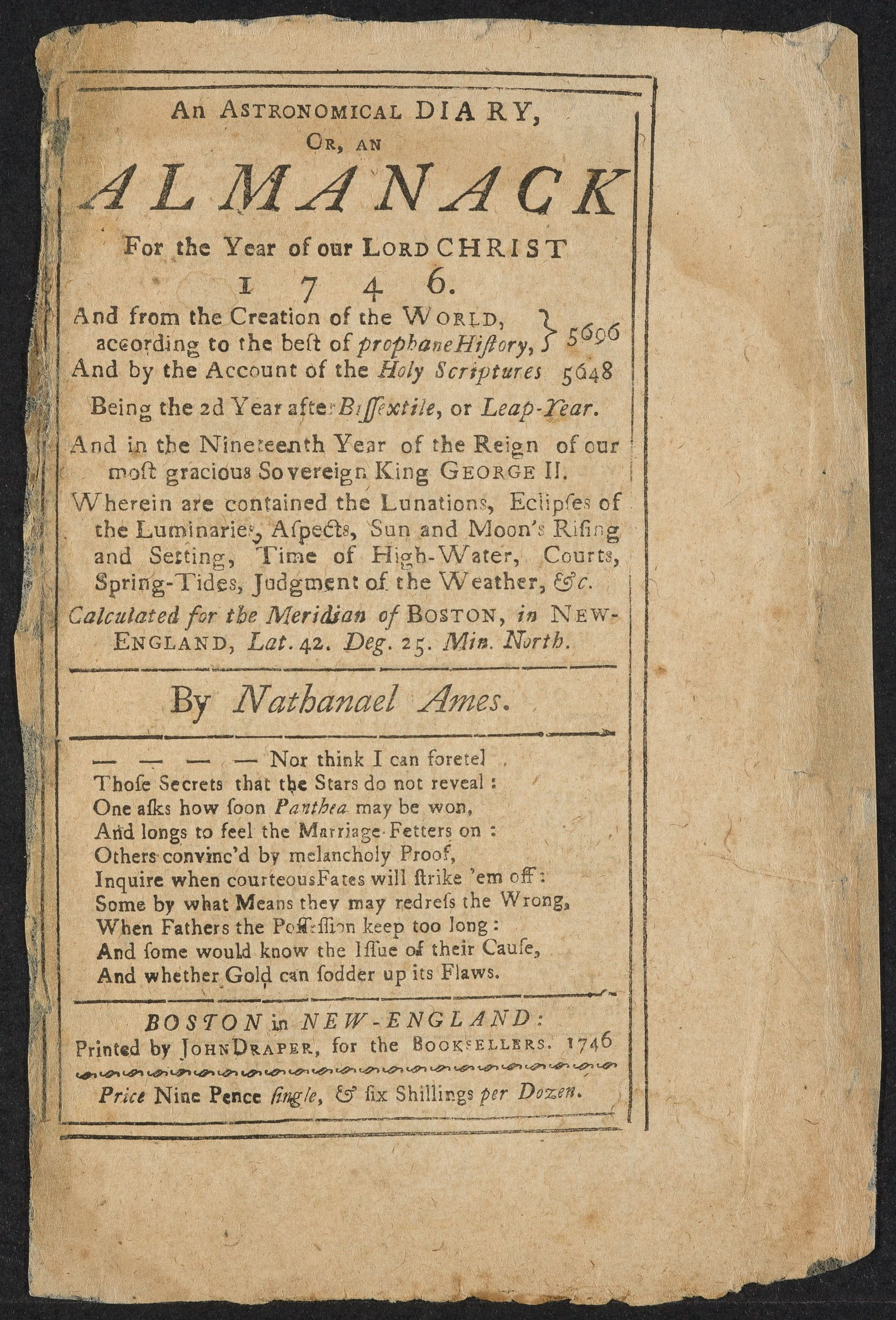 Annotated almanac, 1746