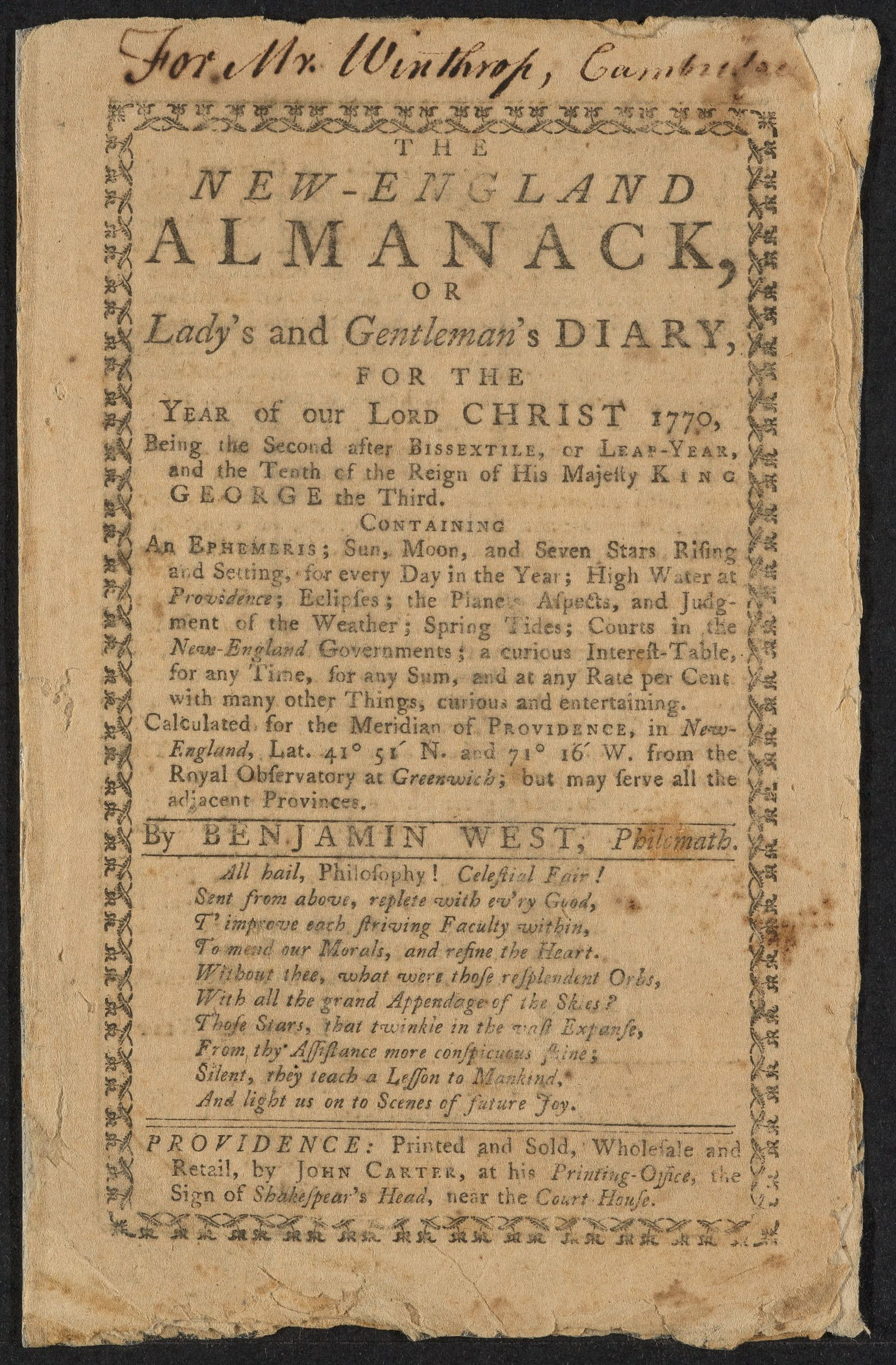 Annotated almanac, 1770
