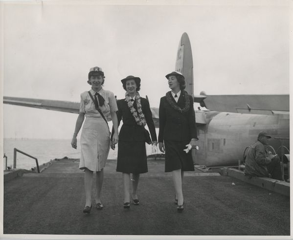 Winifred Collins and other members of WAVES both on base and at naval events in Honolulu, Hawaii