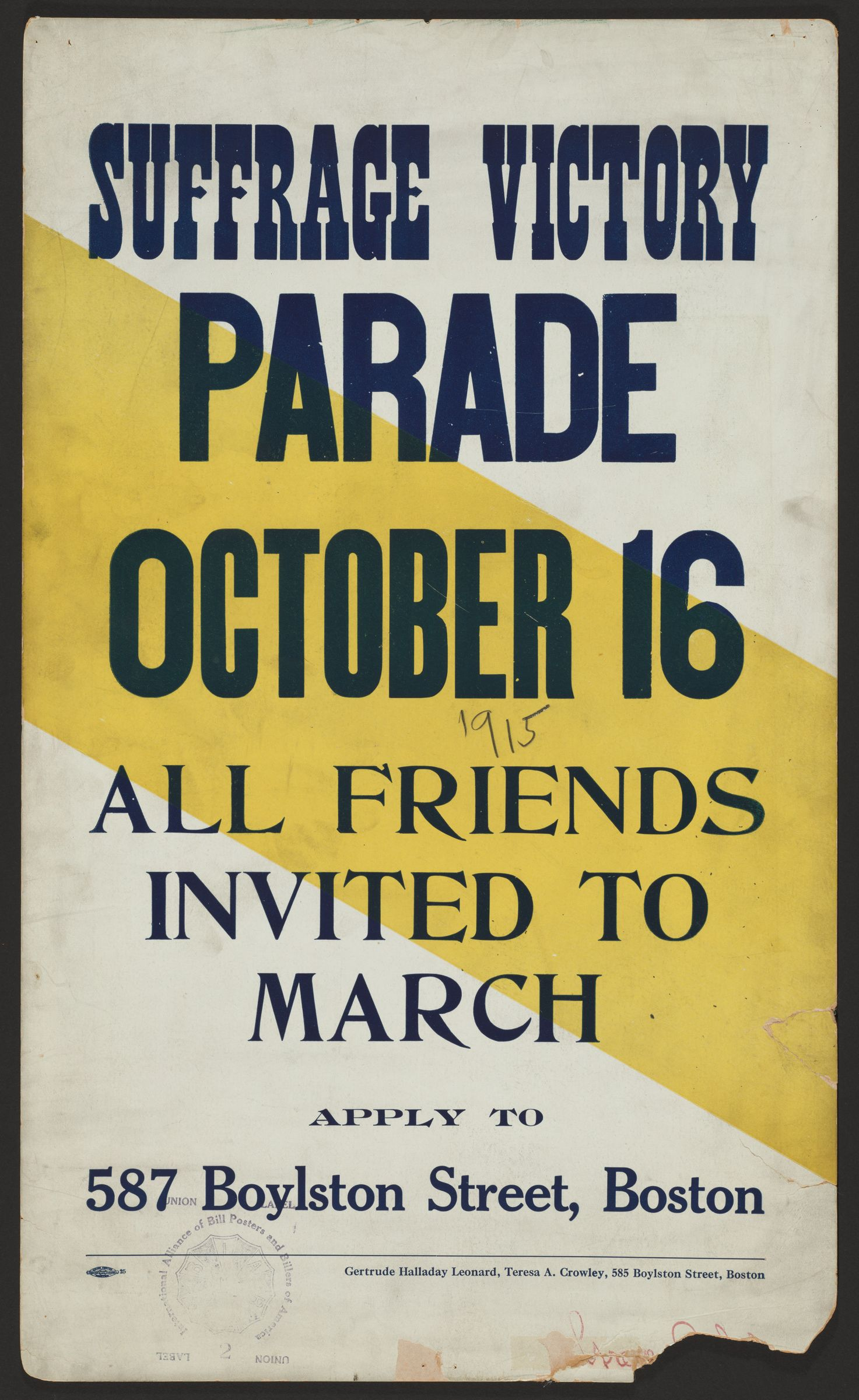 Suffrage victory parade, all friends invited to to march, October 16, 1915, Boston
