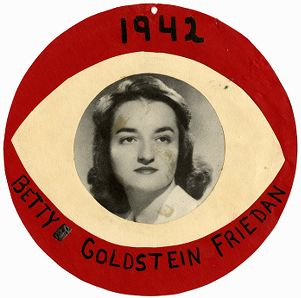 Portrait of Betty Friedan mounted on construction paper, ca. 1942