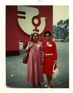Betty Friedan with unidentified woman at United Nations International Women's Year conference