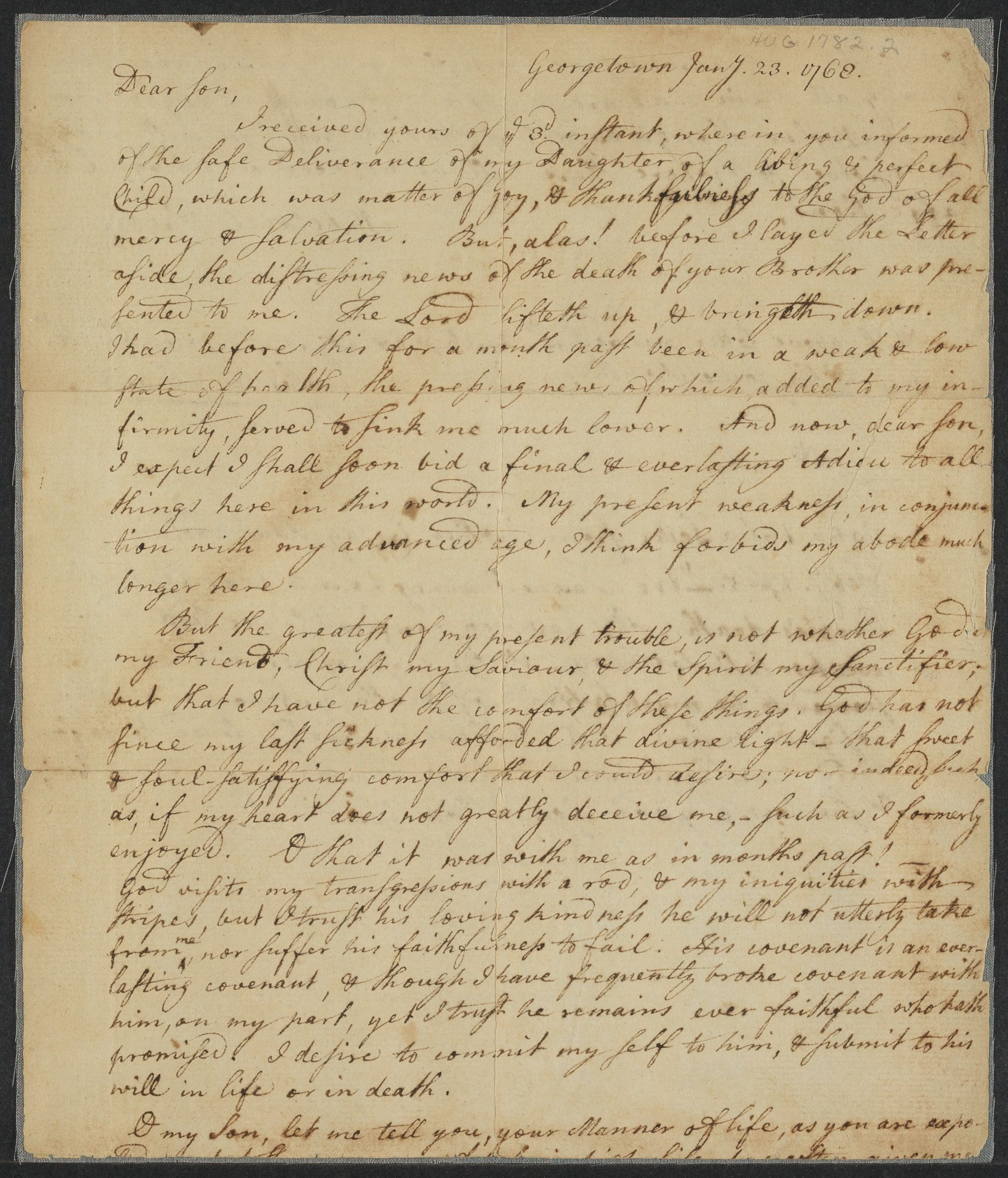 [Copy of a letter from Mehetabel Preble to her son Stephen Sewall], 1768 January 23