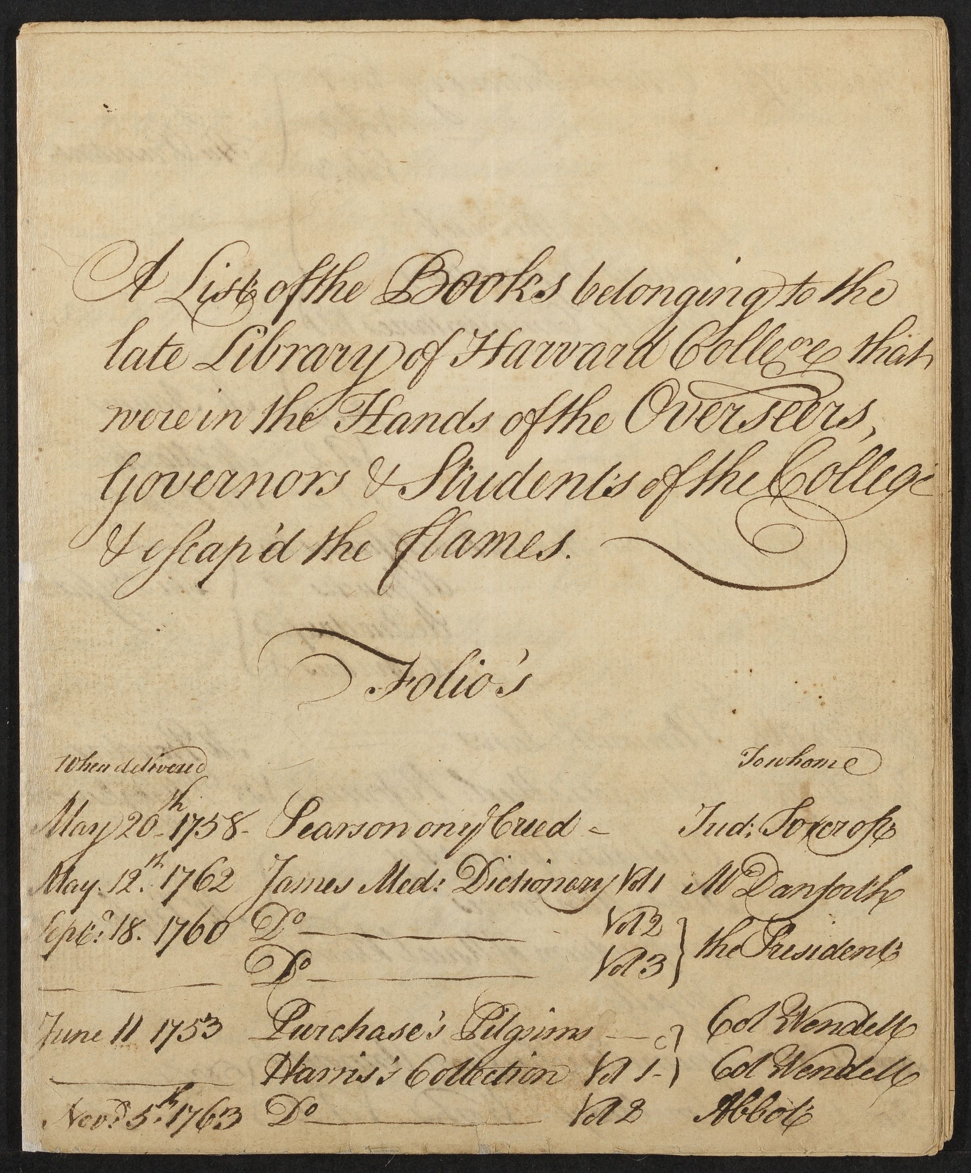 """A list of the books belonging to the late Library of Harvard College that were in the hands of the Overseers, Governors, & Students of the College & escap'd the flames,"" ca. 1764"