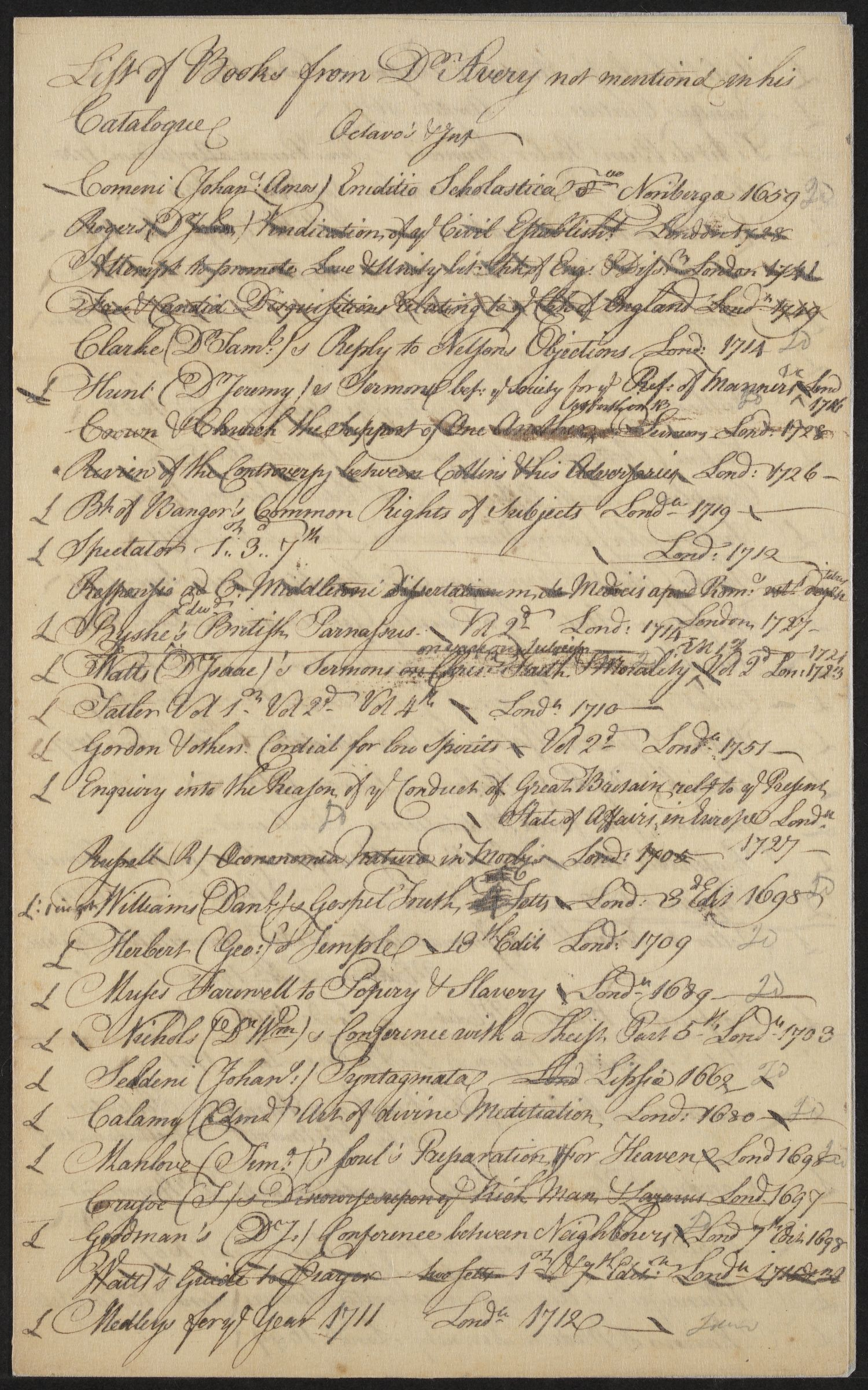 """List of books from Dr. Avery not mentioned in his Catalogue,"" undated"