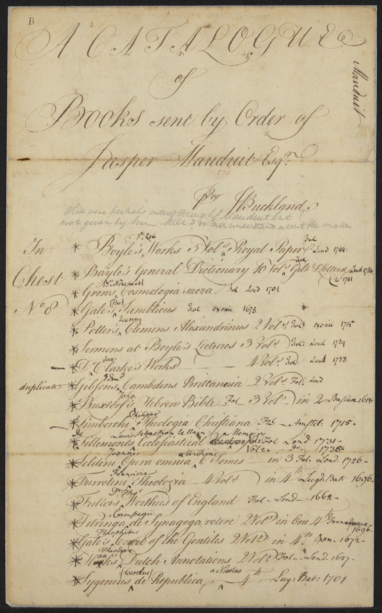 """A Catalogue of books sent by order of Jasper Mauduit, Esq. per J. Buckland,"" undated"