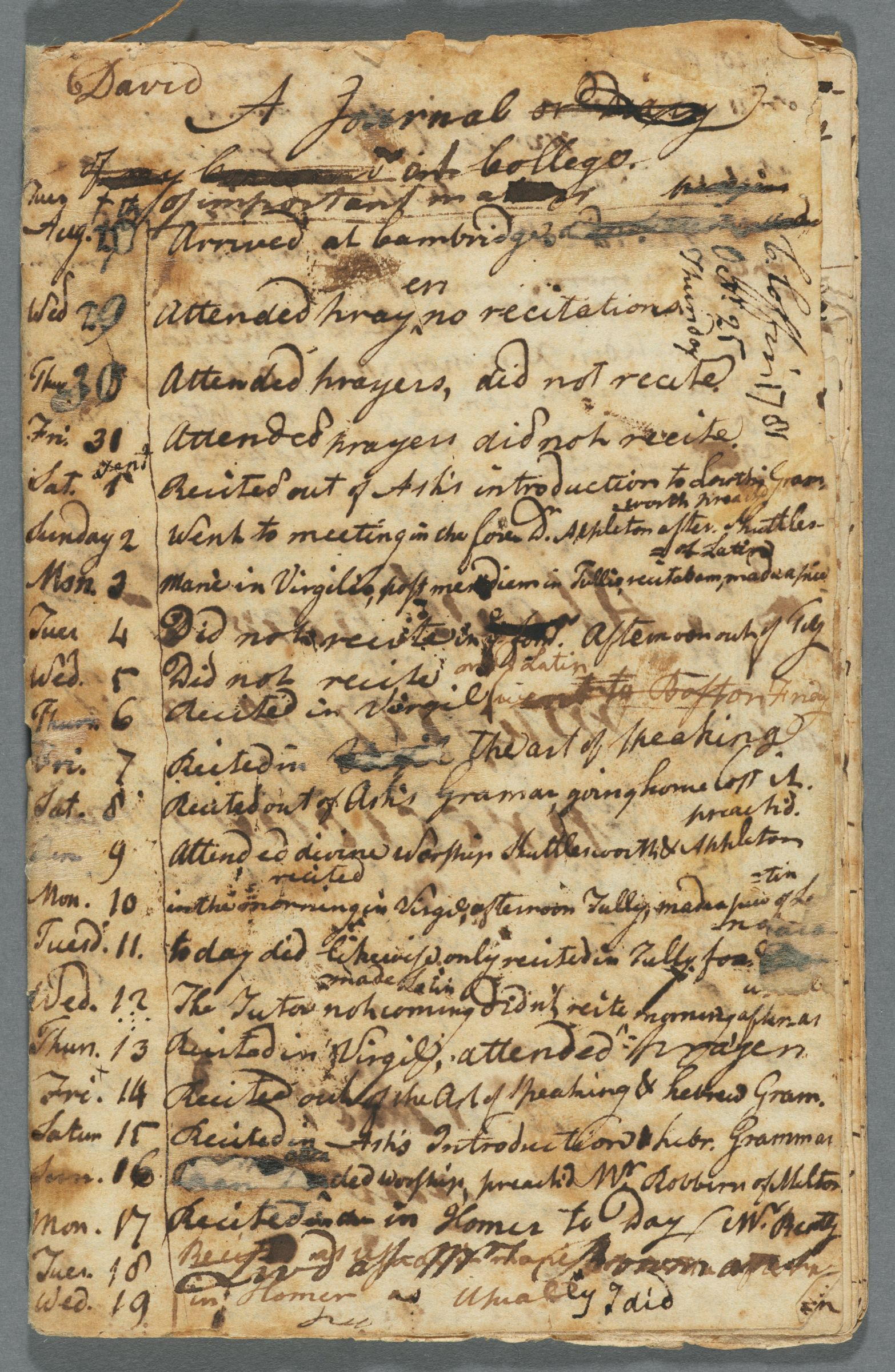 Journal of Charles Coffin and David Gurney, 1781-1785