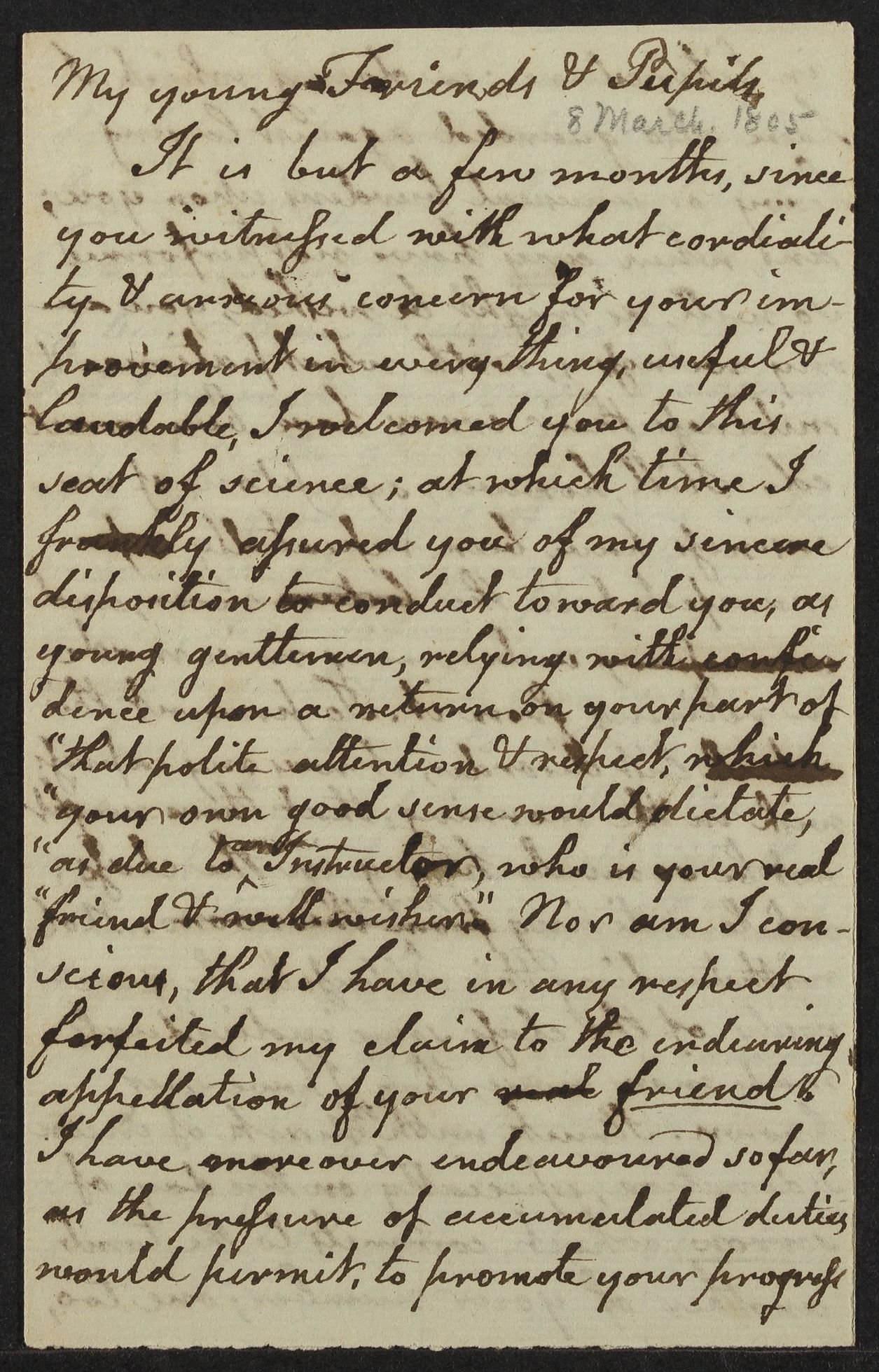 [Address made to the class of Freshman], 1805 March 8