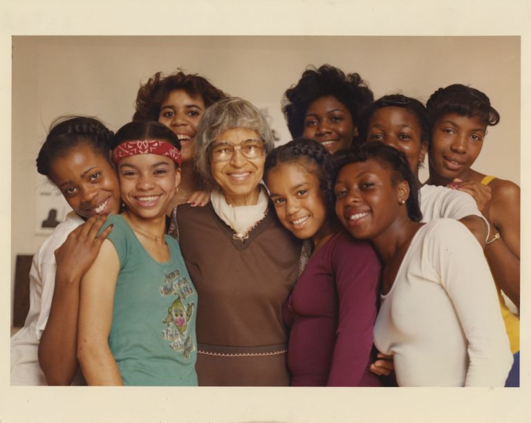 Rosa Parks surrounded by her grand-daughters, ca. 1982