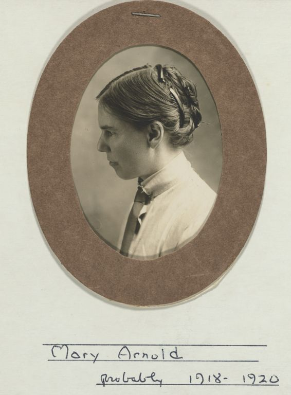 Portrait in profile of Mary Arnold