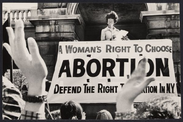 Shirley Chisholm speaking at abortion demonstration in Union Square