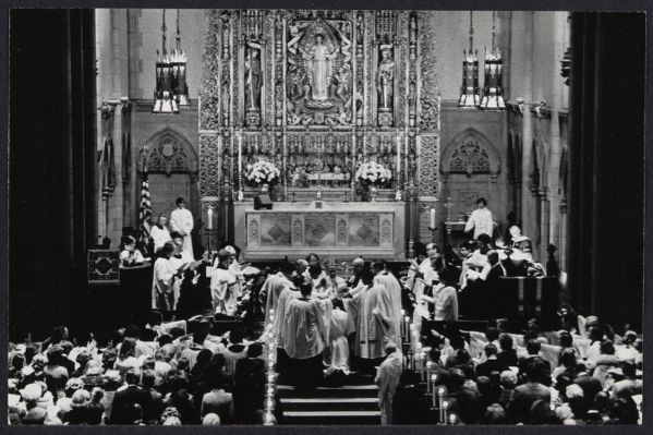 The Consecration of the first woman priest of the NYC Epsicopal Church. The others in the photo with their hands on her head are the Bishop and the Presbyters.