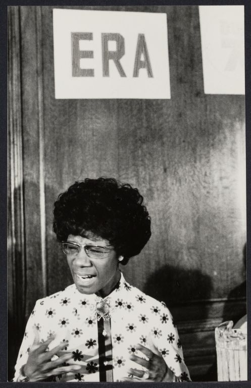 ERA supporter and NY Congress Woman Shirley Chisholm at Democratic Convention