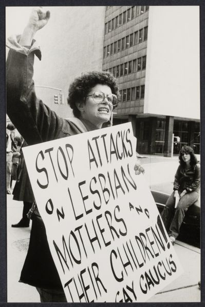 Jane Kaatz at Lesbian Mothers demonstration at family court
