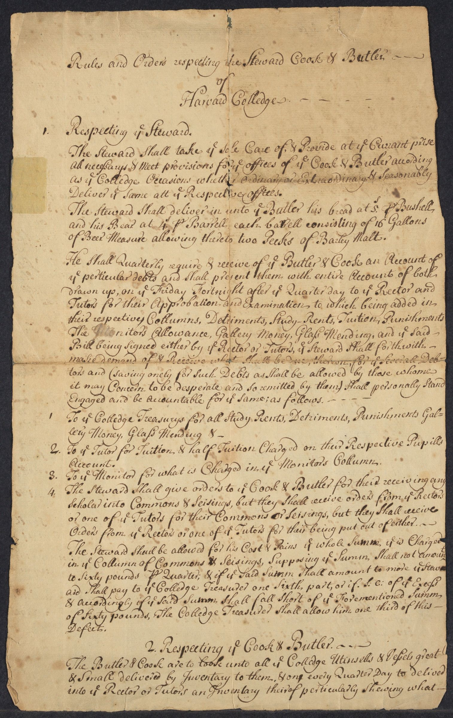 Rules and orders respecting the Steward, Cook & Butler of Harvard College, [1686]