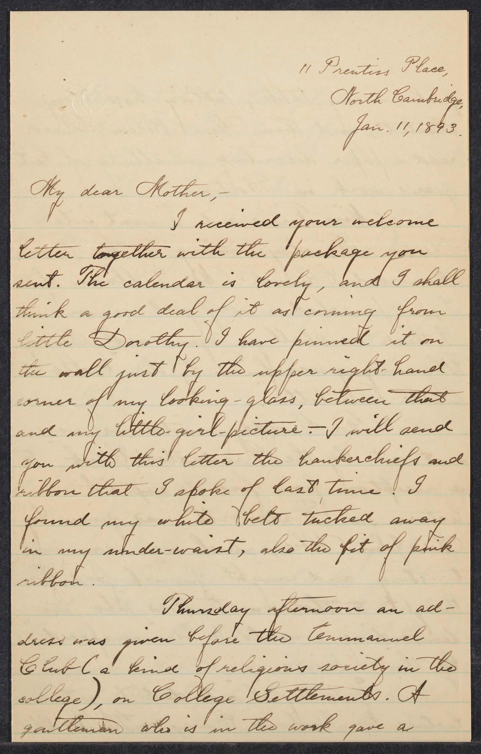 Mary White Morton Ziegler letters, September 1893 - May 1895