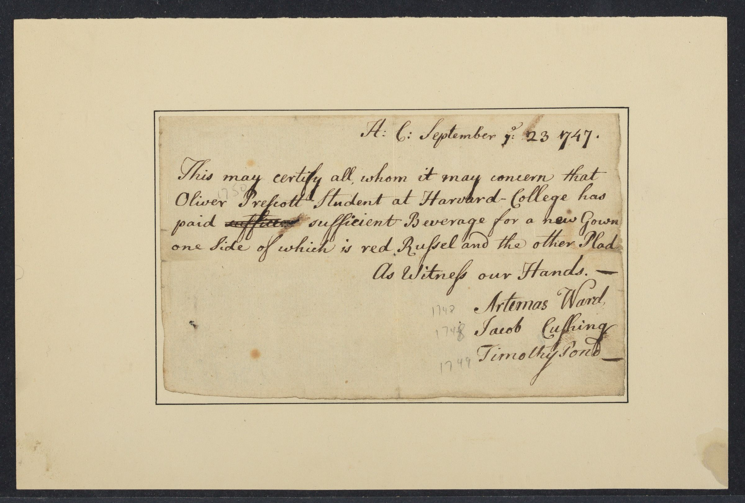 Certification of payment from Oliver Prescott, 1747 September 23
