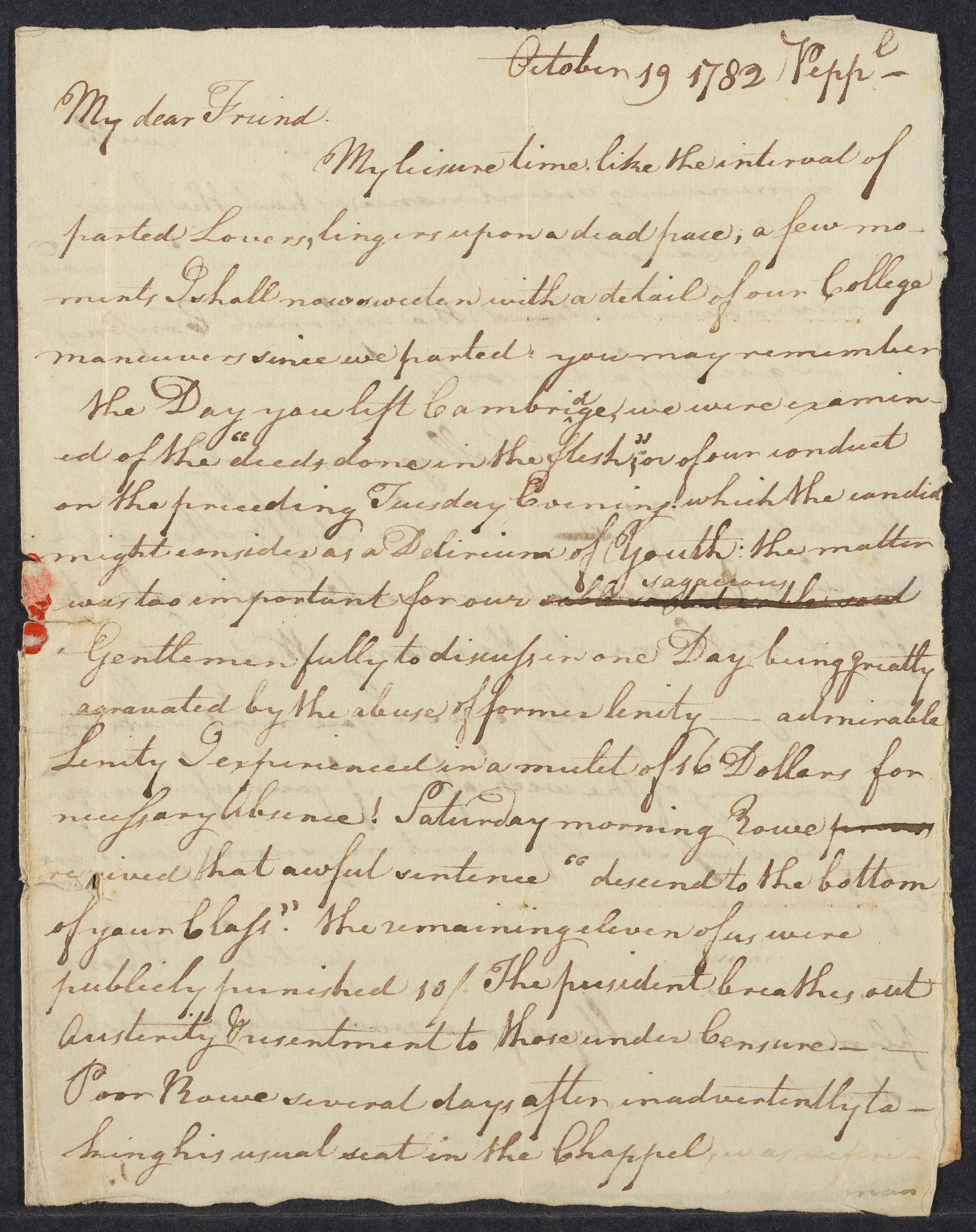Letter from William Prescott to Oliver Prescott, 1782 October 19