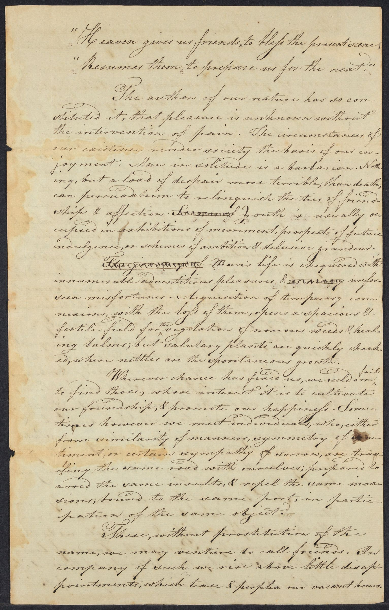Student essay composed by Thomas Mason, 1796
