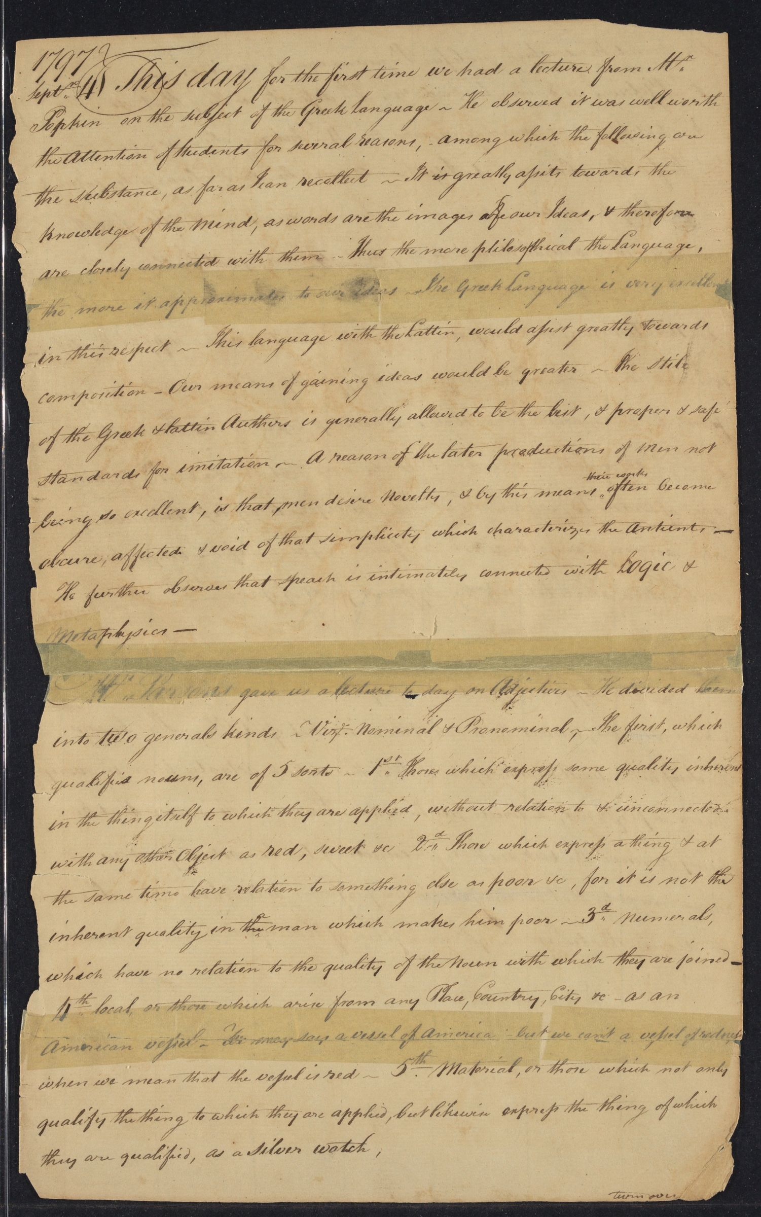 Student lecture notes of Benjamin Peirce, 1797-1798