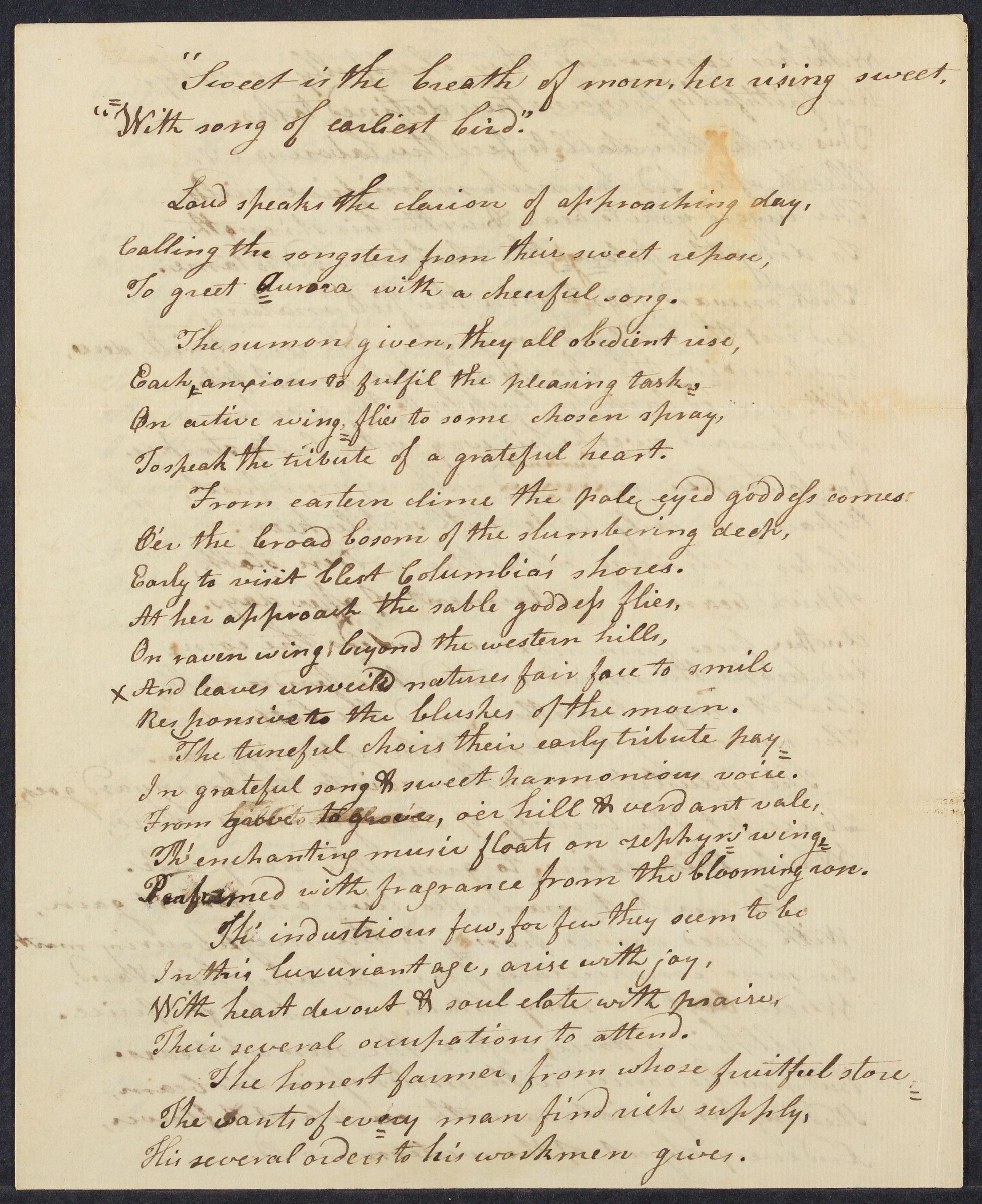 Student poem composed by Jacob Abbot Cummings, 1799 September 16