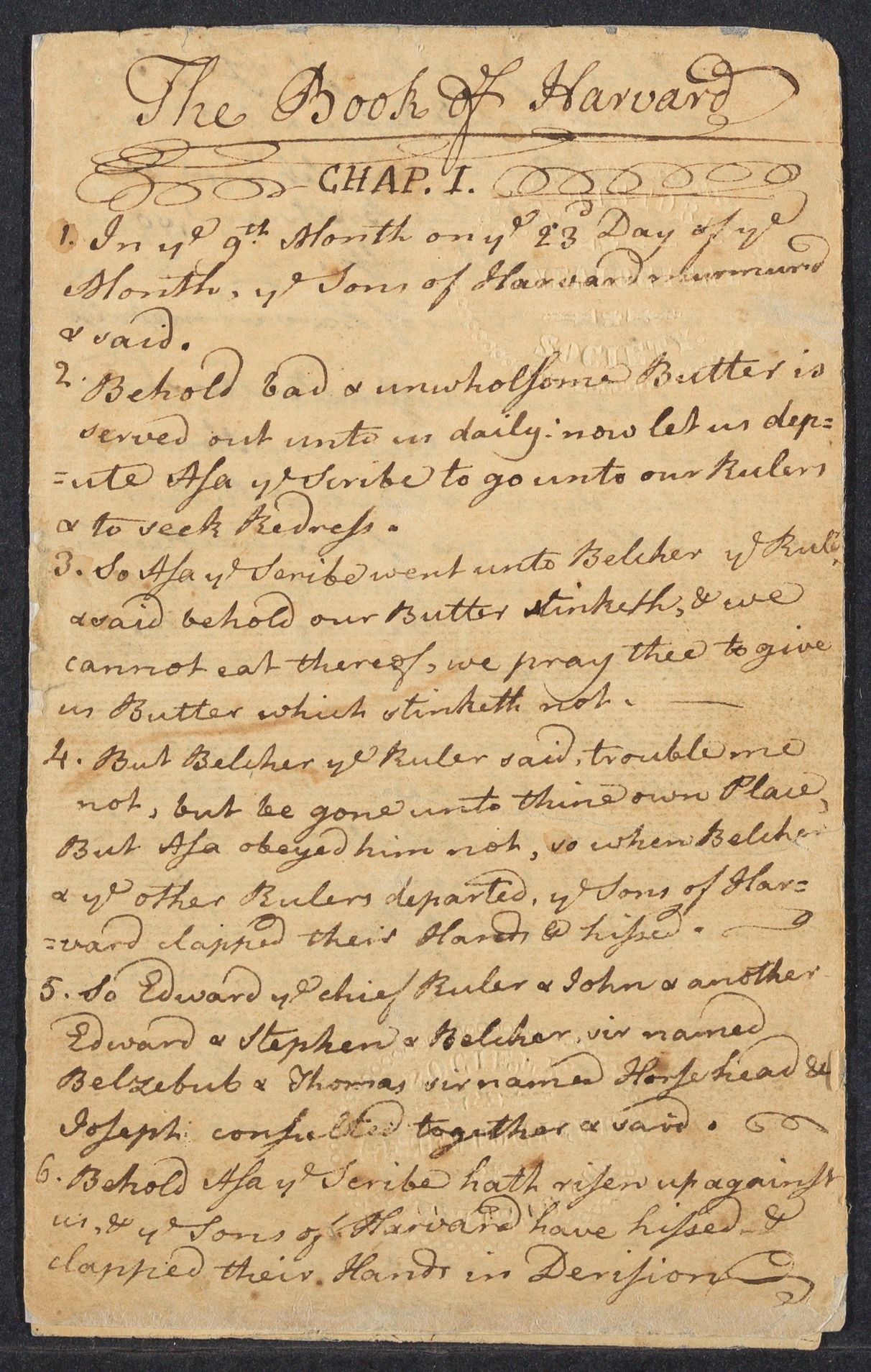 Manuscript copy of the book of Harvard, 1767