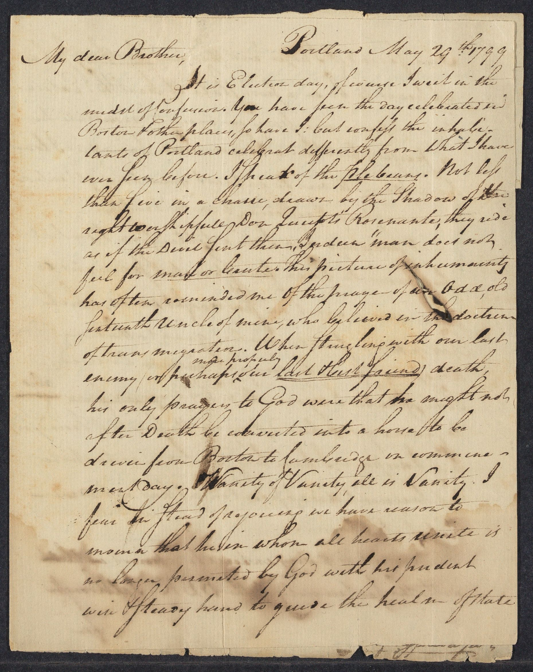 Letter from Stephen Longfellow to Daniel Appleton White, 1799 May 29