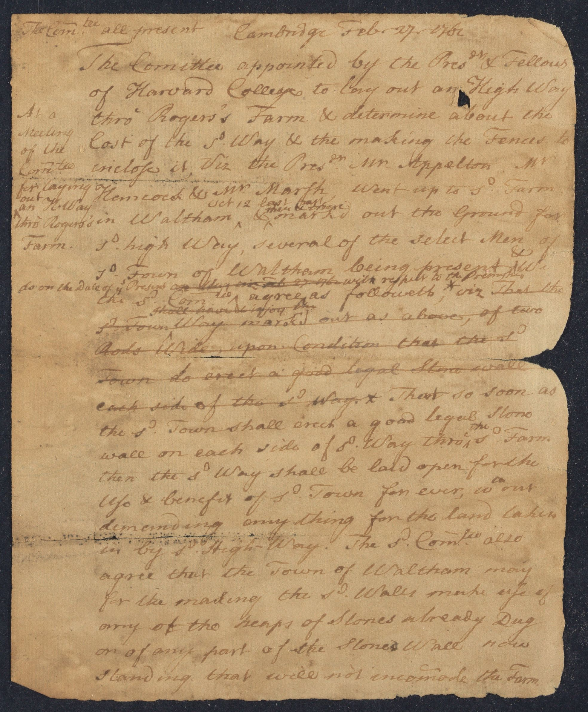Resolution of the committee concerning the way through Rogers's farm, 1762 February 27