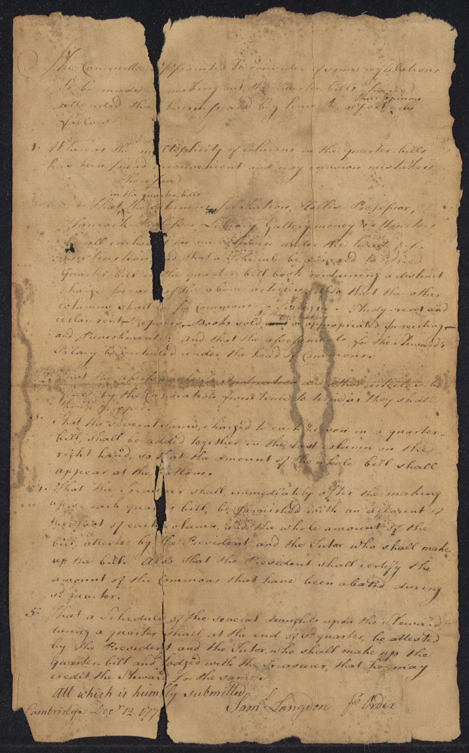 Report of committee for the form of quarter bills, 1778 December 12