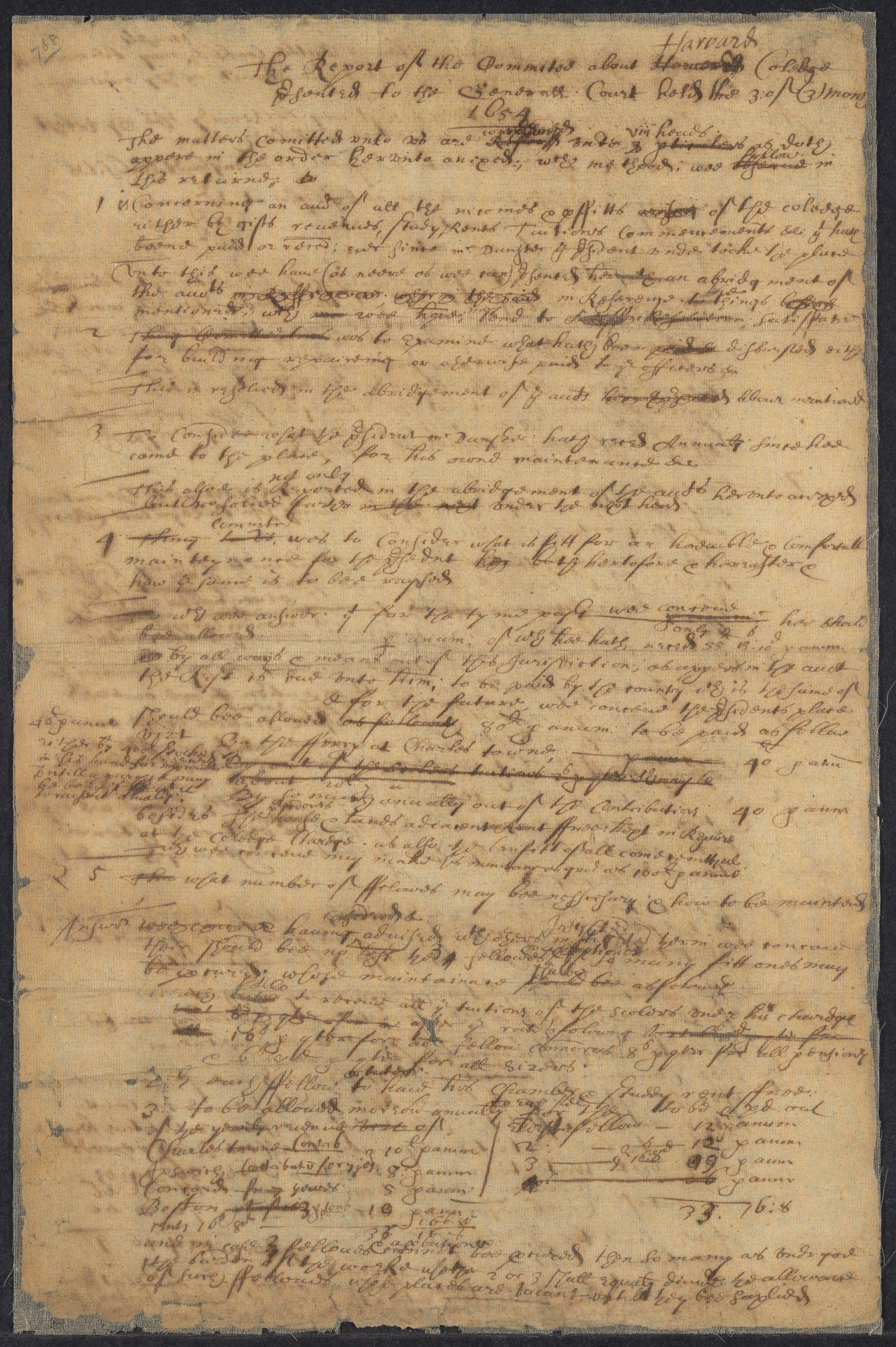 The  report of the committee about Harvard Coledge: presented to the Generall Court held the 3 of (3) month, 1654