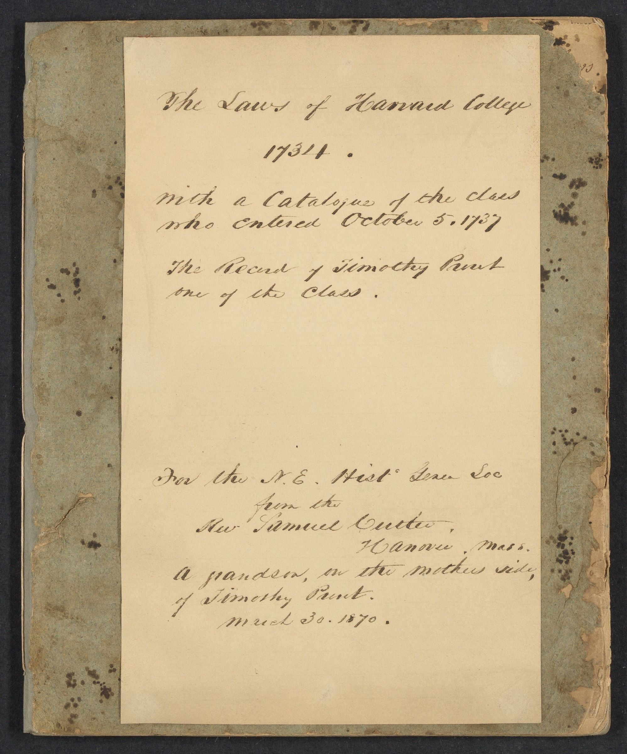 [Admittatur of Timothy Prout (Harvard AB 1741)], 1737