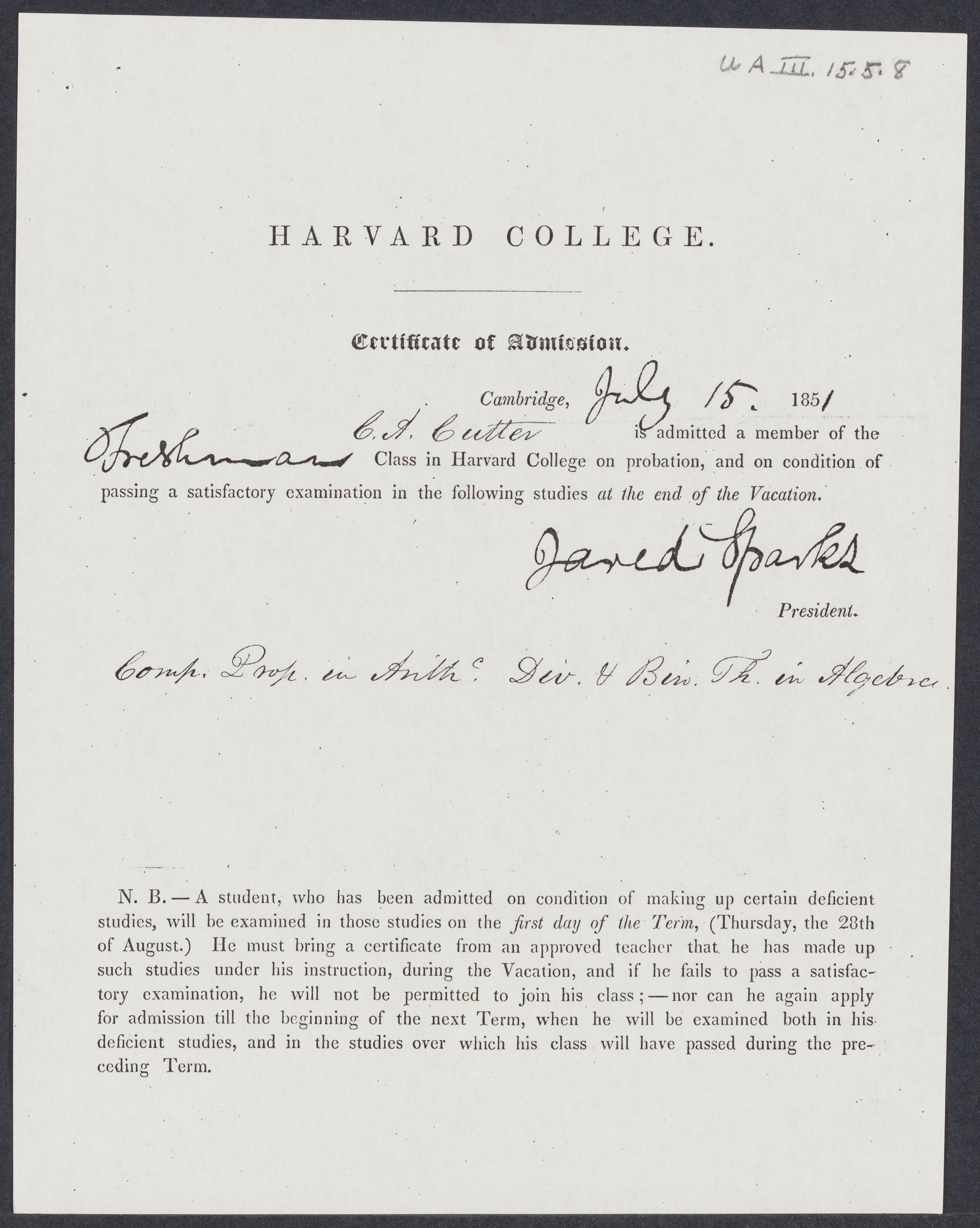 [Certificate of admission of Charles Ammi Cutter], 1851 July 15