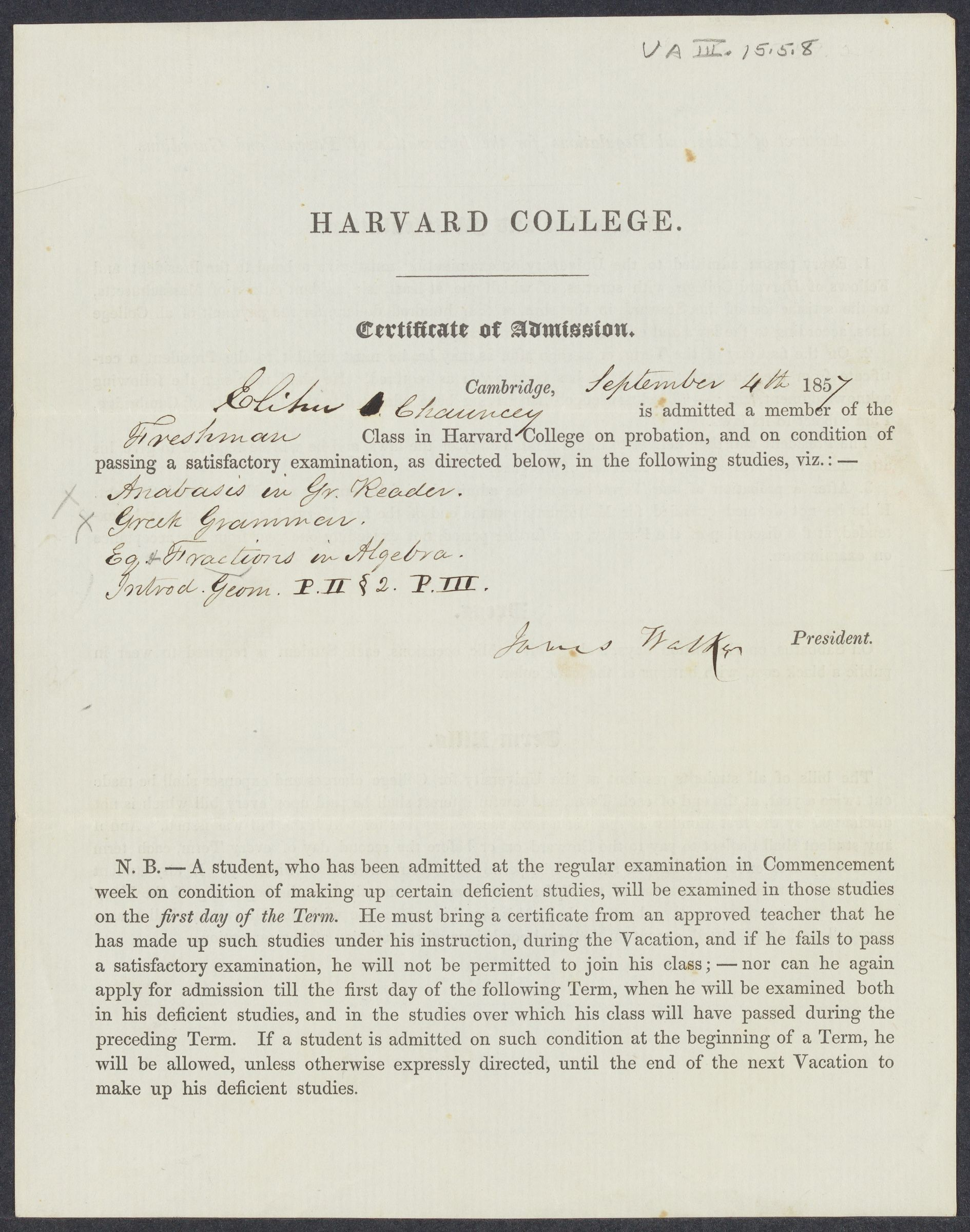 [Certificate of admission of Elihu Chauncey], 1857 September 4