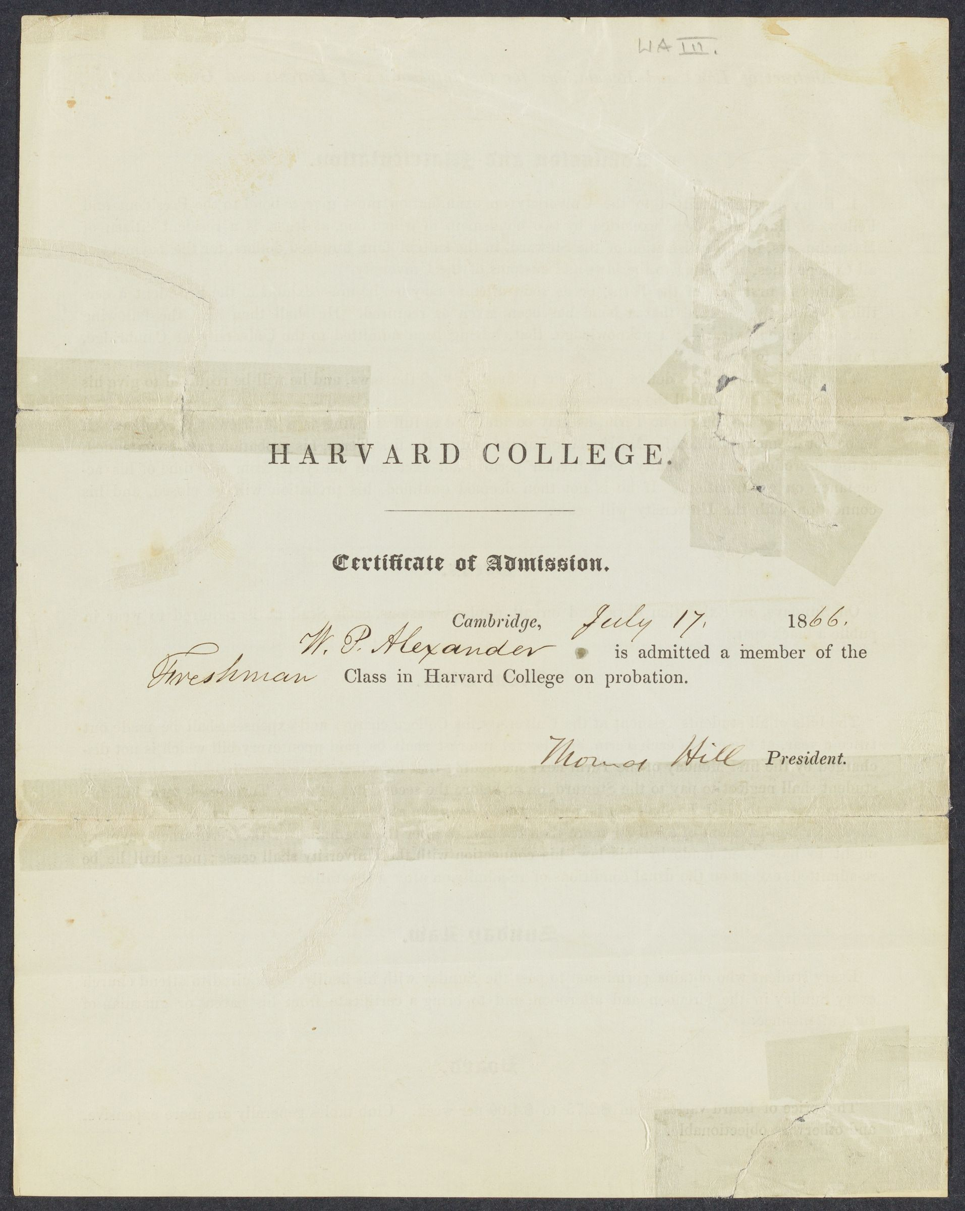 [Certificate of admission of W. P. Alexander], 1866 July 17