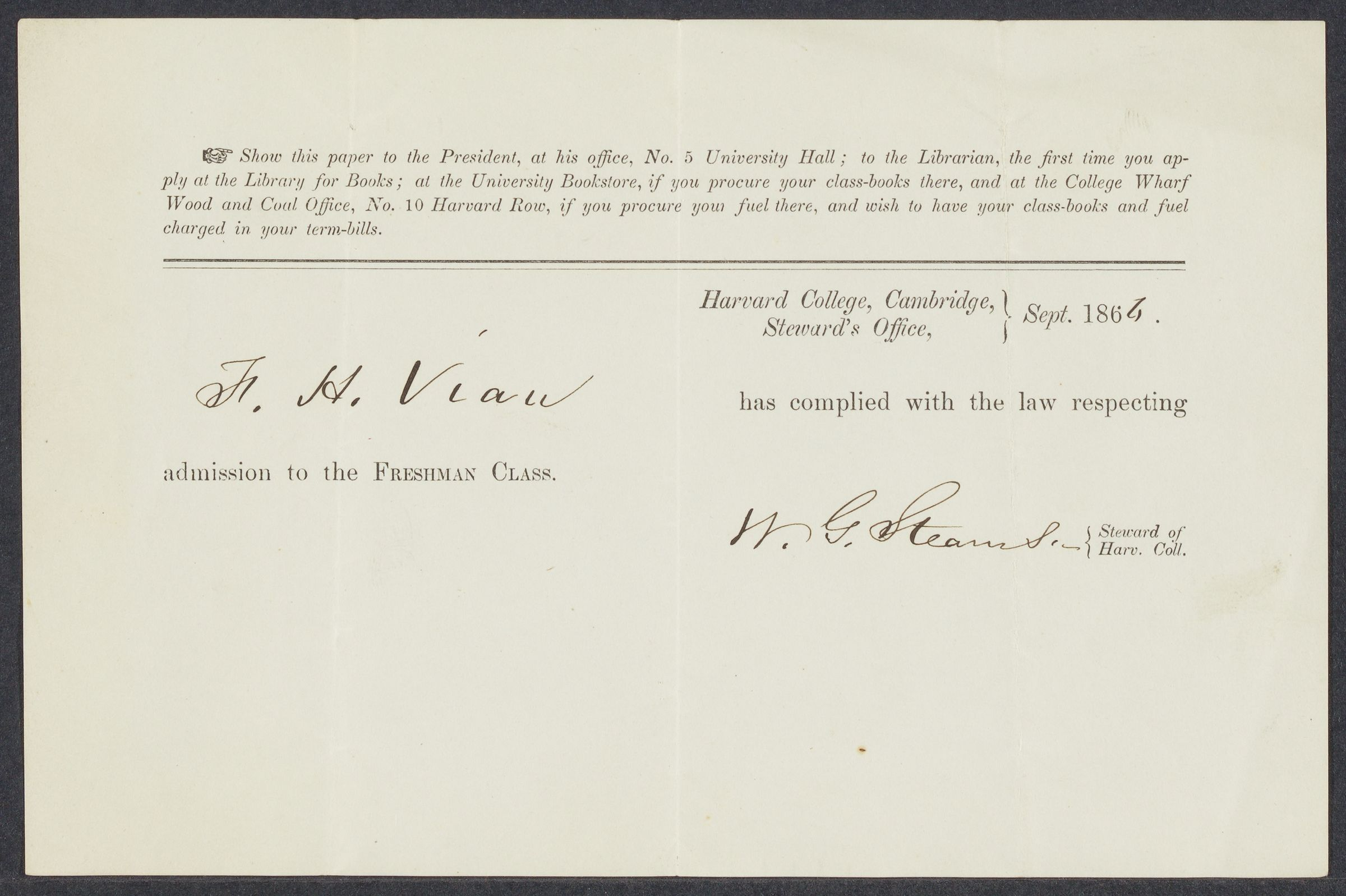 [Certificate of admission of F. H. Viaux], 1866-1867