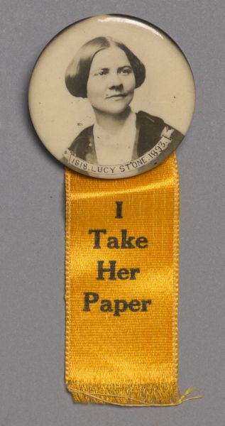 Woman's Journal button with portrait of Lucy Stone.