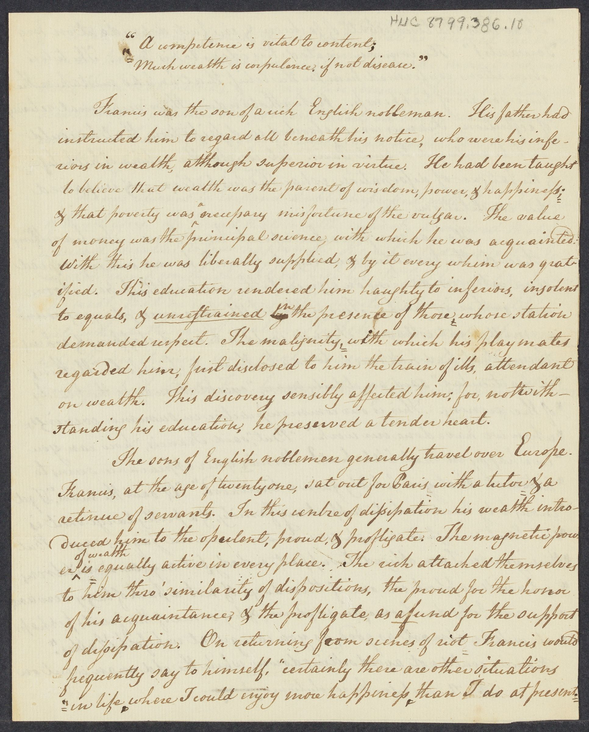 """A competence is vital to content; Much wealth is corpulence, if not disease"" (manuscript essay), 1799 March 30"