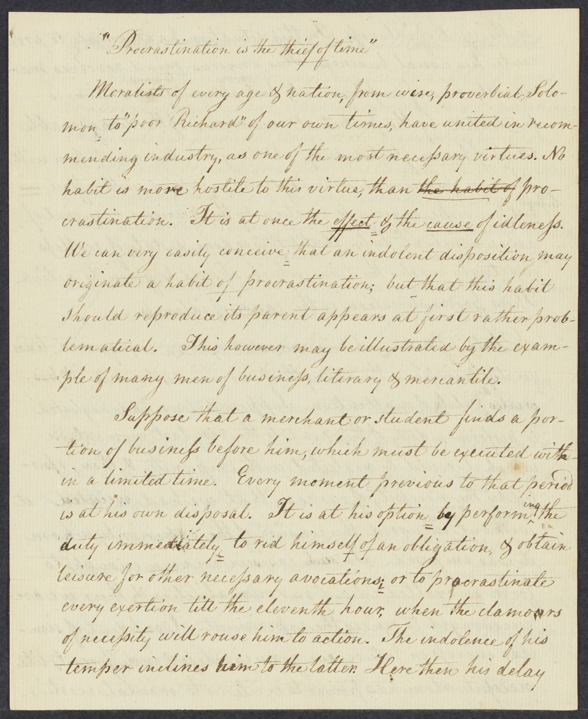 """Procrastination is the thief of time"" (manuscript essay), 1799 November 26"