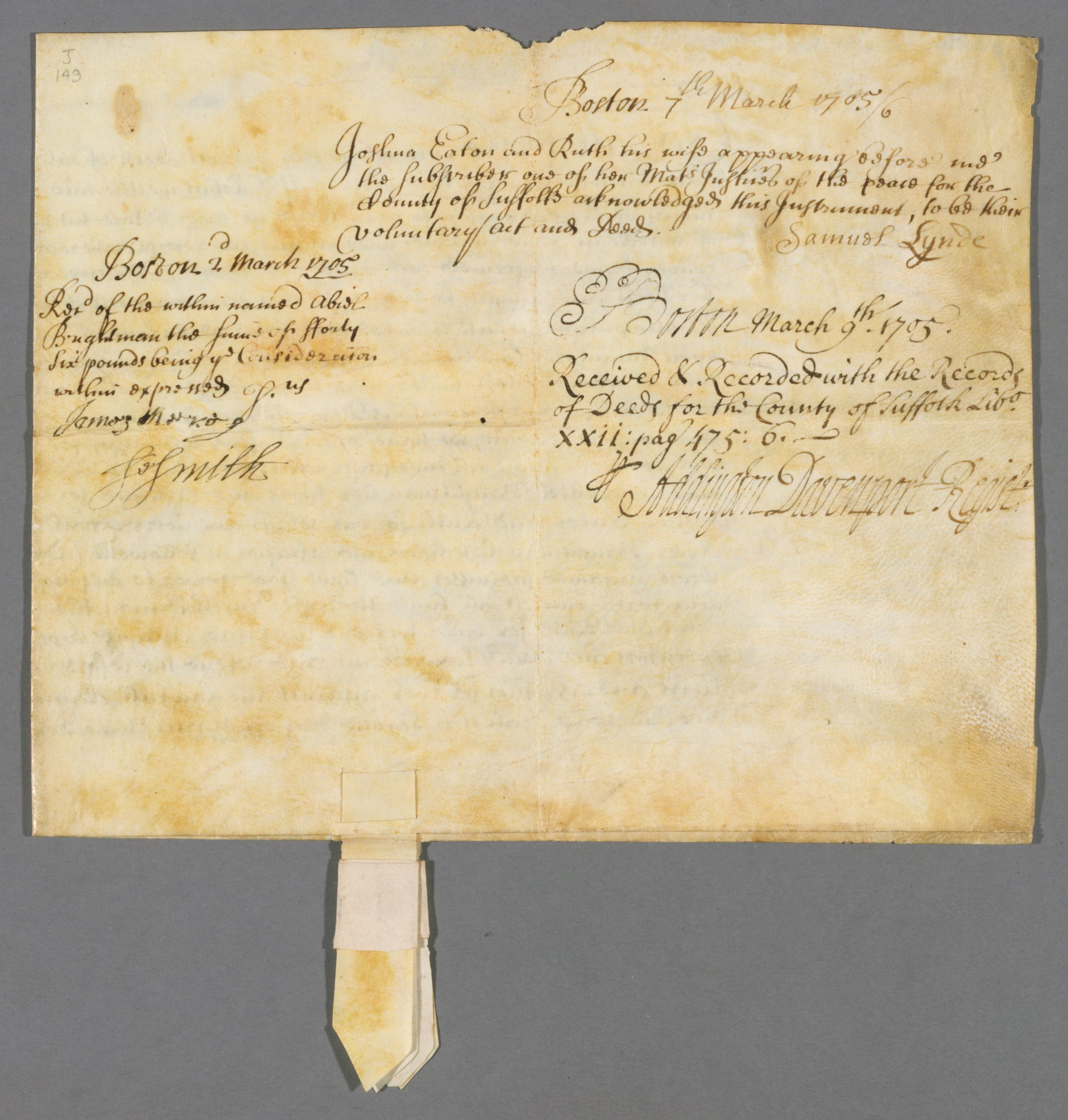 [ Deed of sale] 1705