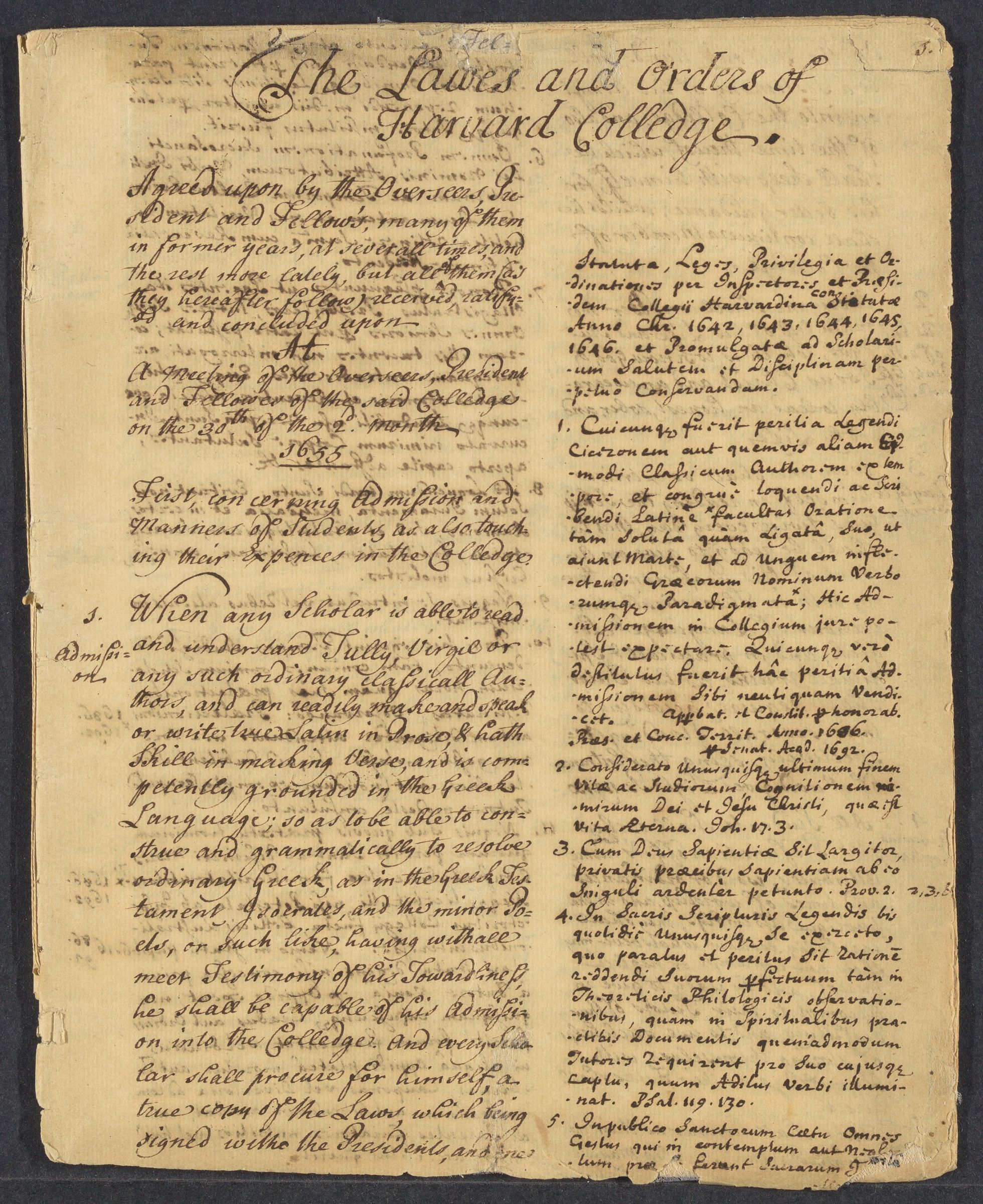 The Lawes and Orders of Harvard Colledge, 1655-1708