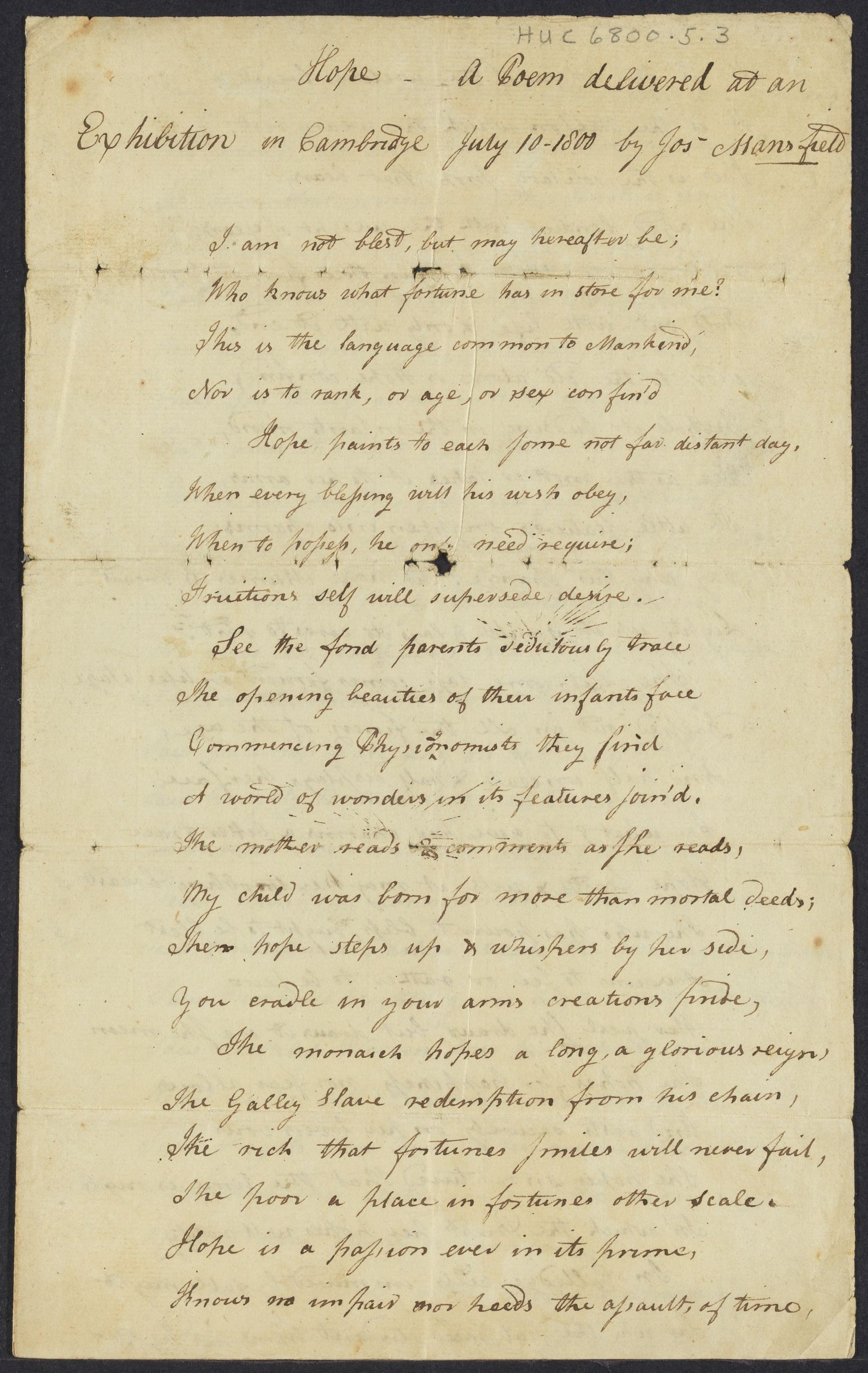 Hope: a poem delivered at an exhibition in Cambridge, July 10, 1800